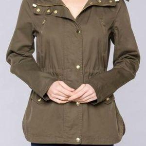 Love Tree Olive Cargo Utility Jacket Size Medium